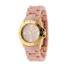 Reloj Marea de correa de policarbonato en color rosa con caja de metal dorado.