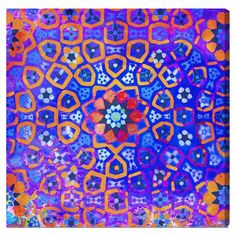 Hand-stretched canvas print with a multicolor stained glass window motif. Made in the USA.  Product: Wall artConstru...