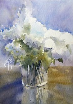 On our dinner table stands a Hydrangea, it is a nice plant, and it is also a bit of a neat version. You could say they all make the perfect Hydrangea's at the plant grower. Abstract Flowers, Abstract Watercolor, Watercolor Flowers, Watercolor Paintings, Watercolours, Hortensia Hydrangea, Hydrangeas, Flower Pictures, Lovers Art