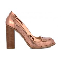 Visible stitching on leather welt. Leather and rubber sole. Women's Pumps, Pump Shoes, Metallic Heels, Magnolia, Peep Toe, Bronze, Woman, Glass, Leather