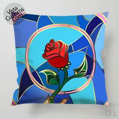 Beauty and the beast give rose Pillow Case, Chusion Cover ( 1 or 2 Side Print With Size 16, 18, 20, 26, 30, 36 inch )