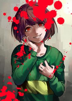 Chara #blood <<< I learned about Chara today.... They aren't evil just confused. It's you who play the game that makes them evil or not