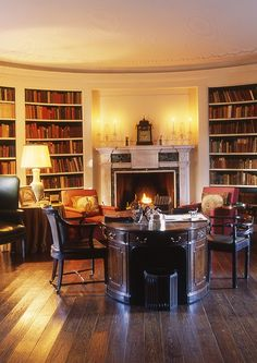 """Oval Library, feature in the book Most Beautiful Rooms in America"""" in the Manor House at Ladew Gardens Beautiful Library, Dream Library, Home Libraries, Library Design, Book Nooks, Reading Nooks, Family Room, Sweet Home, Foyer"""
