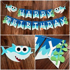 Baby Shark Birthday Banner Shark Banner Shark Happy - Feb Excited To Share This Item From My Etsy Shop Baby Shark Birthday Banner Shark Banner Shark Happy Birthday Banner Shark Party Decor Shark Themed Party Decor Baby Shark Babysharkba Shark Birthday Cakes, 1st Boy Birthday, Happy Birthday Banners, Boy Birthday Parties, Birthday Banner Ideas, Water Theme Birthday, Birthday Cards, Second Birthday Ideas, Birthday Invitations