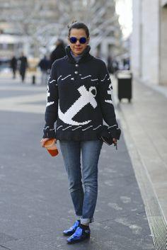 Almudena Guerra New York Fashion Week Street style F/W 2014…boating in style