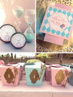 Alice in wonderland party decor.  Key hole favor boxes.  Alice in wonderland party.  Food & drink table menu items labeled.  Birthday party, baby shower & garden tea party inspiration.  DIY ideas for decorations, favors & photo booth props.