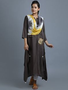 Brown Yellow White Rayon Cotton Kurta with Attached Tie and Dye Dupatta