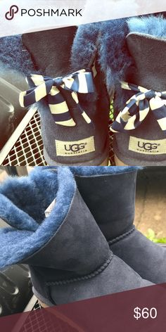 Navy Short Uggs Slightly used Bailey navy blue Uggs with ribbon on back. Size 8, super cute!! UGG Shoes Winter & Rain Boots