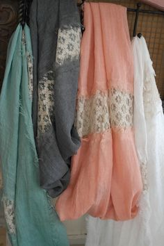 infinity scarves with lace! mint, gray, coral, white, so pretty!