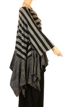 Vincenzo Allocca Funky Black & Grey Multi Stripe Ruffle Top-Vincenzo Allocca, lagenlook, womens plus size UK clothing