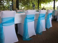 Try these chair sashes with crinkle sheer