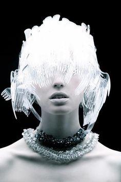 Plastic fork wig/hat. ~ETS