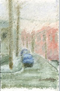 """""""Snow Shower"""", 5"""" x 7"""", 2004 mixed pastels on mat board covered with a stippled coating of gesso/marble dust for the lumpy texture A view of the street out the window in a heavy snowfall, just like today."""