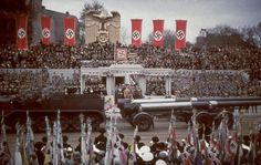 Heavy artillery passes the reviewing stand during a military parade in celebration of Adolf Hitler's 50th birthday, Berlin, April 20, 1939.  Read more: Adolf Hitler at 50: Color Photos From a Despot's Birthday, April 1939 | LIFE.com http://life.time.com/history/adolf-hitler-at-50-color-photos-from-a-despots-birthday-april-1939/#ixzz3HZ0niAZj