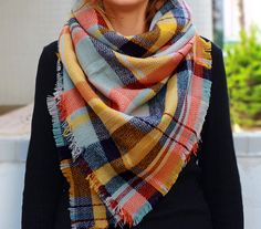 I OWN THIS AND IT'S GORGEOUS! Blanket scarf Plaid Scarf tartan scarf Knit scarf by KnitScarf