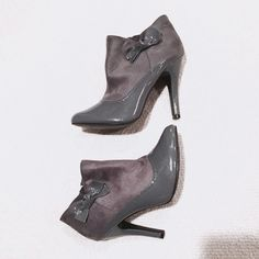 🆕Gray Ankle Booties Charlotte Russe - Dark gray ankle booties with stiletto heel (a little over 3 inches). Mostly suede, with patten leather accents on toe and bow on ankle as decoration. Zips on inner sole. Never worn. Size 7. No box! Charlotte Russe Shoes Ankle Boots & Booties