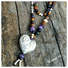 #Repost @shimarah_jewelry  Another new creation   Hill Tribe Silver long mala style necklace- features all Natural components of wooden amethyst gemstone  bone agate lava stone & bodhi seed beads. This necklace  is approx 70cm long with a hand etched Hill Tribe Silver love heart pendants & beads. $85 plus post xx  #hilltribe #hilltribesilver #bodhi #bodhiseeds #yoga #mala #spiritual #meditation #namaste #buddha #buddhism #loveheart #silver #Shimarah #handmadejewelry #karenhilltribe…
