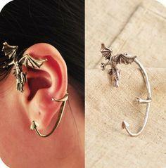 Trendy  metal Punk Dragon Ears Hook Earrings