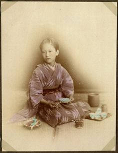 Young woman at meal time, Japan. by National Museum of Denmark, via Flickr
