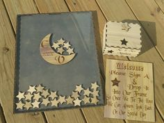 Guest Book Moon and Stars guestbook Alternative box Alternative Guest Book GuestBook Unique Wedding Guestbook Book by RIPTideEngraving on Etsy Rustic Wedding Photos, Rustic Wedding Guest Book, Wedding Guest List, Wedding Guest Book Alternatives, Wedding Book, Wedding Ideas, Diy Wedding, Wedding Souvenir, Cruise Wedding