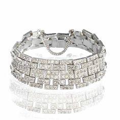 Emerald Cut Crystal Sterling Silver Art Deco Bracelet Bangle Rhinestone Vintage Jewelry