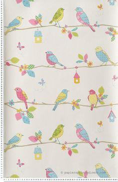 Oiseaux Bleus - papier peint Lutèce