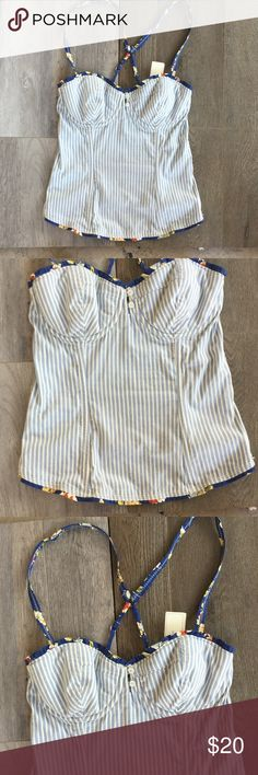 """GILLY HICKS ( ANTHROPOLOGY)  SYDNEY SIZE SMALL. 🦋 NWT.   GILLY HICKS """"SYDNEY"""" SIZE SMALL TOP COLORS ARE: Royal blue, Gold , Rust, & Cream. Gorgeous Corset.!!!! 👖⭐️ Gilly Hicks Tops Camisoles"""
