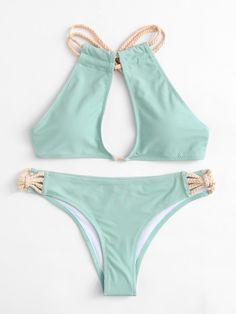 SheIn offers Braided Strap High Leg Bikini Set & more to fit your fashionable needs. Bikini Bum, High Leg Bikini, Bikini Beach, Bikini Swimwear, Cute Bikinis, Cute Swimsuits, Cute Bathing Suits, Swimming Costume, Beach Babe