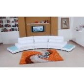 Modern Semi-circular White Full Leather Sectional Sofa
