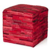 Found it at Wayfair Australia - Leather Pouffe Cube Ottoman in Red