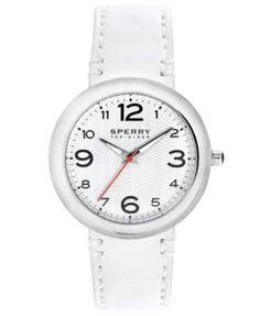 Sperry Top-Sider Watch, Women's Sandbar White Leather Strap 40mm 102044