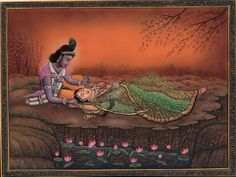 Krishna Radha Ethnic Painting Handmade Indian Hindu Divine Love Krshn Folk Art