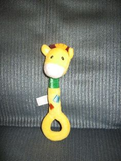 Carter's GIRAFFE Long Handle Plush Ring Rattle Toy Lovey
