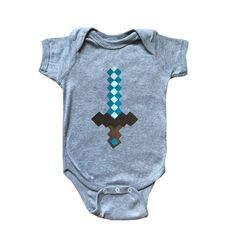 Diamond Sword - Minecraft Inspired - Baby Bodysuit - Children's Clothing - Gift by micielomicielo on Etsy
