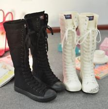 Womens Girl's Punk Gothic Shoes Sneaker Lace Up Zip Canvas Boots Knee High Shoes