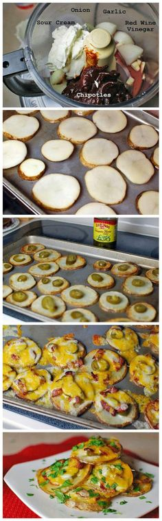 Potato rounds baked until tender and topped with cheese and jalapeños. The simple chipotle sauce makes a perfect dip. Finger Food Appetizers, Appetizer Recipes, Snack Recipes, Snacks, Gourmet Recipes, Mexican Food Recipes, Cooking Recipes, All You Need Is, Love Food