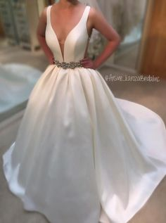 $199.99  A-line Deep V-neck Straps White Satin Wedding Dress Beaded Belt Prom Evening Gowns