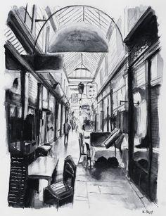 Passage des Panoramas. Paris. Black ink drawing. By Nicolas Jolly.