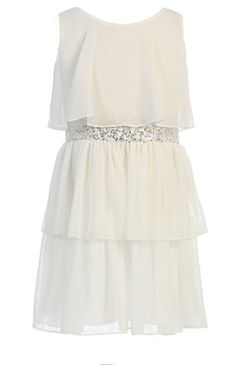 Amazon.com: Girls Sweet Kids New Sequin Belted Chiffon Dress ~ 16 Off White ( Sk 401): Clothing