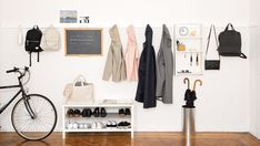 """""""Remodelista: The Organized Home"""" helps find order without sacrificing style. We wouldn't expect anything less from one of our go-to design sites. Smart Closet, Wood Table Legs, Entryway Organization, Organized Entryway, Pergola With Roof, Wall Mounted Coat Rack, Baskets On Wall, Storage Solutions, Design"""