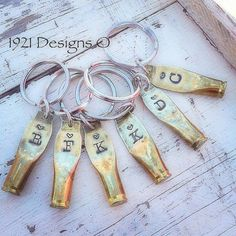 223 Shell Casing stamped key rings by . Ammo Crafts, Bullet Crafts, Metal Crafts, Bullet Casing Crafts, Ammo Jewelry, Jewelry Crafts, Jewlery, Jewelry Necklaces, Shotgun Shell Crafts