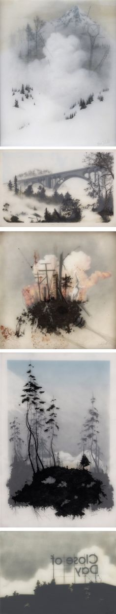 Drawings on layered sheets of paper by Brooks Shane Salzwedel