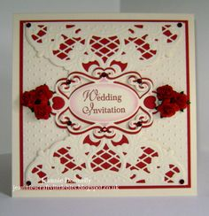Red and Cream Wedding Invitation using a Marianne Designs Die and Spellbinders Label