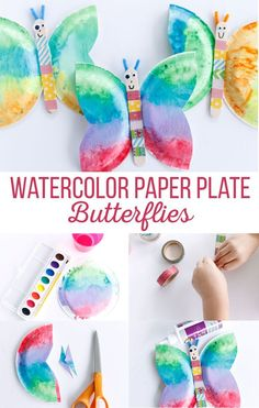 Watercolor Paper Plate Butterflies are such a fun craft for kids.