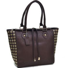 Dasein Coffee Tote Bag with Gold Punchout Accent