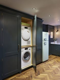 Planning a utility room? Whether you've got a designated laundry room or a utility cupboard hidden in the kitchen, it's important to get it right. Boot Room Utility, Hidden Kitchen, Kitchen Utilities, Washing Machine In Kitchen, Laundry Cupboard, Utility Rooms, Bathroom Storage, Utility Room Designs, Kitchen Storage