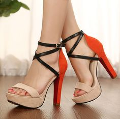 2013 new arrival fashionable ankle strap orange thick high heels sandals, #ankletraphighheels #thickheelshoes
