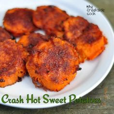 My most famous recipe gets moved to the new blog: Crash {USA} Hot Sweet Potatoes on the  The Creekside Cook | #sweetpotatoes #spicy #crashhotpotatoes