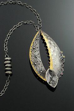 Necklace   Sooyoung Kim.  Sterling silver, rutilated quartz, 24K gold, citrine, rhodolite garnet, 23K gold leaf