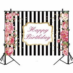 78b4a91dcc2 Amazon.com  Allenjoy 7x5ft Polyester Pink Flower Black and White Stripe  Happy Birthday Party Backdrop Watercolor Red Rose Gold Dot Girl Sweet 16  Cake Table ...